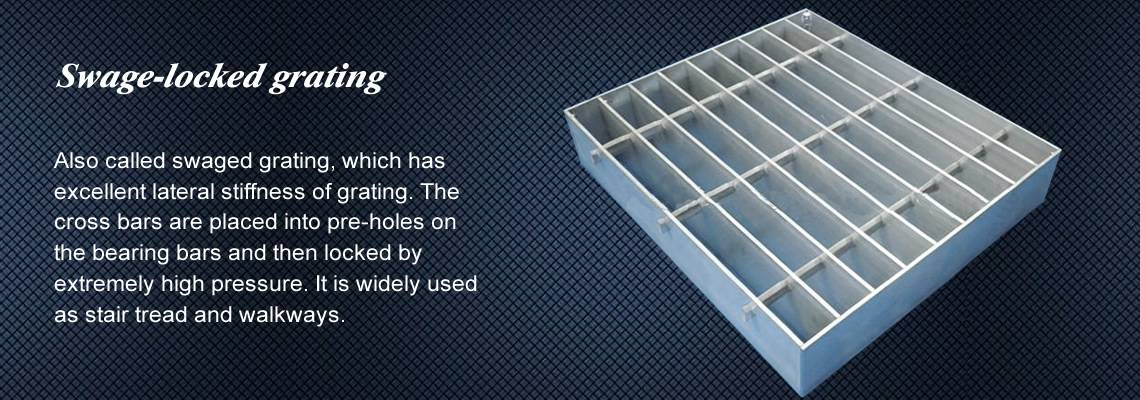 A swage-locked grating with smooth surface.