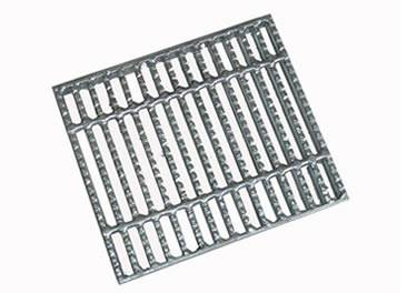A aluminum steel grating with serrated surface on the white background.