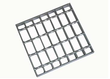 A aluminum steel grating with smooth surface on the white background.