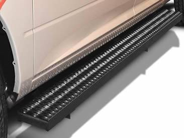 A diamond safety grating plank is installed on a car step.