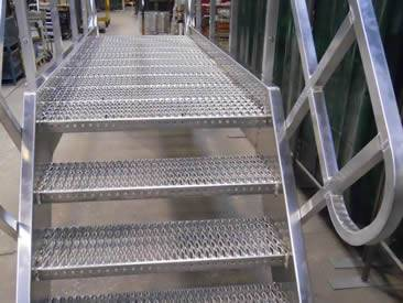 Several Diamond Safety Grating Stair Treads Are Welded On The Metal Frame.