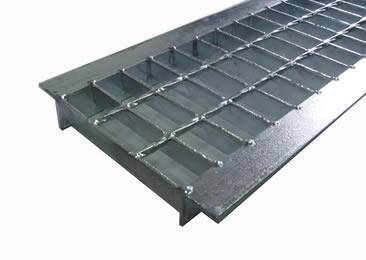 A galvanized angle sided grate with smooth surface.