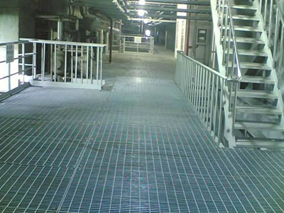 Flooring And Stair Treads Of The Workshop Are Made Of Galvanized Steel  Grating.