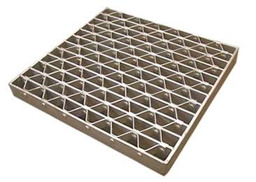 A riveted platform and walking grating on the white background.