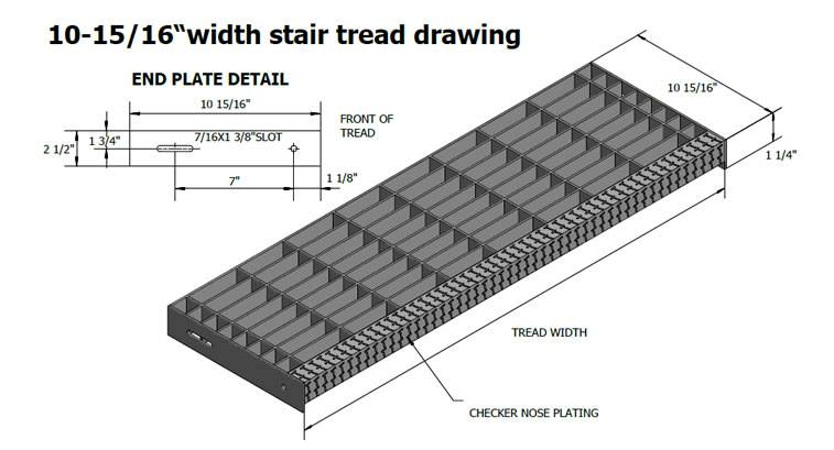 A Drawing Of Stair Tread With 10 15/16 Inch Width And 1