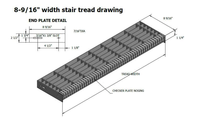 A Drawing Of Stair Tread With 8 9/16 Inch Width And 1