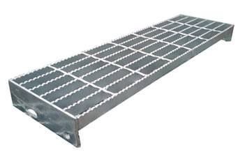 A Welded Steel Grating Stair Tread With Serrated Surface.
