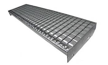 Good A Swage Locked Steel Grating Stair Tread With Round Hole Plate Nosing.