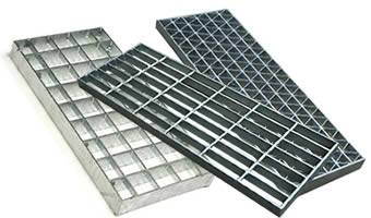 A stainless steel press-locked grating, a carbon steel grating and an aluminum steel grating on the white background.