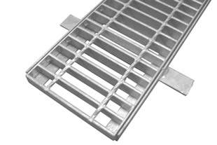 A galvanized drainage trench grate with angle frame on the white background.