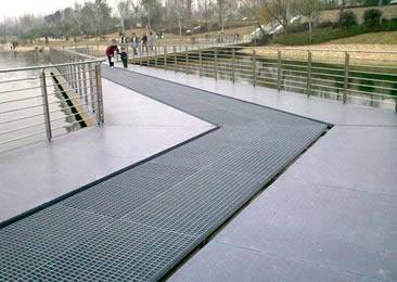 The walkway is installed on the bridge of park.
